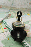 Compass and the map Stock Image
