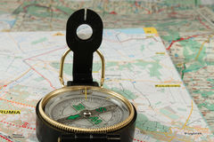 Compass and the map Stock Photography