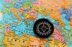 Compass on map. Royalty Free Stock Photos