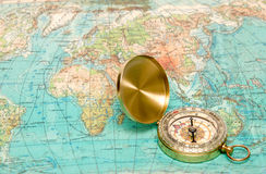 Compass with map Stock Photo
