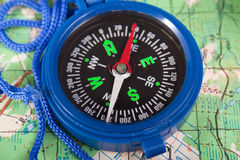 Compass and map. Travel north direction compass on cartography map Stock Photography