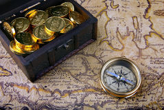 Compass and a map Stock Image