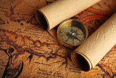 Compass and a map Stock Photography