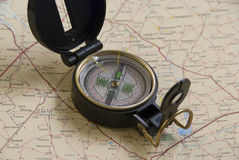 Compass on a map. Of south africa Stock Image