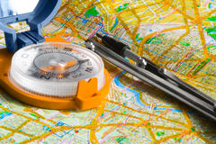 Compass and map Royalty Free Stock Photography