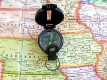 Compass & Map. Photo of a compass and map Royalty Free Stock Image