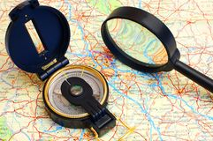 Compass on a map Royalty Free Stock Photo