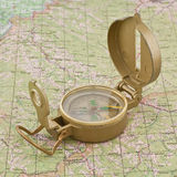 Compass on the map. Travel orientation geography Royalty Free Stock Photos