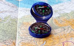 Compass & map. Map on the table. On the map is a compass Royalty Free Stock Images