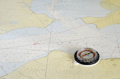 Compass and the map Royalty Free Stock Photo