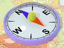 Compass on a map. The three-dimensional image of a compass which lays on a map Royalty Free Illustration