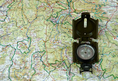 Compass on the map 2. Navigation to the North Royalty Free Stock Photography