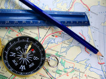 Compass & map 2 Stock Images