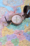 Compass on map. Engineer directional compass on map Royalty Free Stock Photo