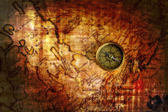 Compass and a map Royalty Free Stock Photos