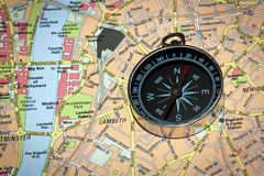 Compass on Map Stock Image