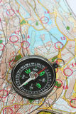 Compass on a map. Stock Photography