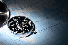 Compass On Map Royalty Free Stock Photos