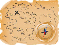 Compass with a map Stock Image
