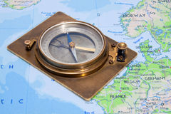 Compass and map Royalty Free Stock Image