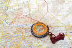 Compass on a map Royalty Free Stock Image
