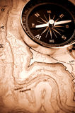 Compass on map. Classic compass on a hiking map Stock Photography