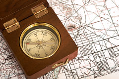 Compass on a map Stock Images