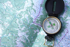 Compass on the map Royalty Free Stock Image