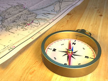 Compass and map. Compass and nautical map on a wood top. CG illustration stock illustration