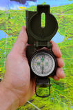 Compass and map Royalty Free Stock Photo