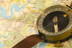 Compass with map Royalty Free Stock Photography