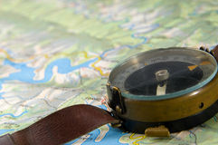 Compass with map Royalty Free Stock Image