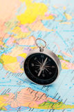 Compass and map. Royalty Free Stock Photography