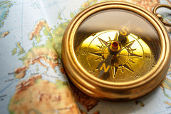 Compass on map background royalty free stock image