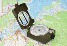 Compass and map of Chernobyl Royalty Free Stock Image