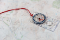 Compass on Map Royalty Free Stock Images