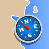 Compass on map clip art Stock Photos