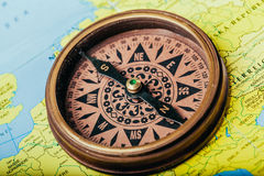 Compass, map. Compass on map close up Stock Photo