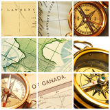 Compass and map collage Stock Photos