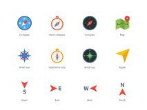 Compass and map colored icons on white background Stock Image