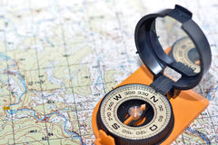 Compass & map - friends travelers. Stock Photography