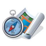 Compass and map icon Stock Images