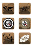 Compass and Map Icons Stock Photography