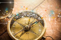 Compass. Map Journey Cartography Direction Antique Guidance Stock Images
