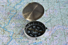 Compass on the map. Stock Image