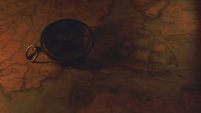 The compass and the map on a night vision stock footage