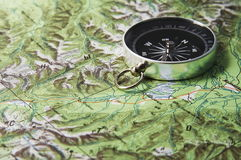 Compass and map. Old mining compass Royalty Free Stock Photos