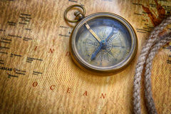 Compass on  map Stock Photography