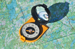 Compass, map, outdoor. Stock Image