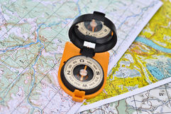 Compass, map, outdoor. Stock Photography